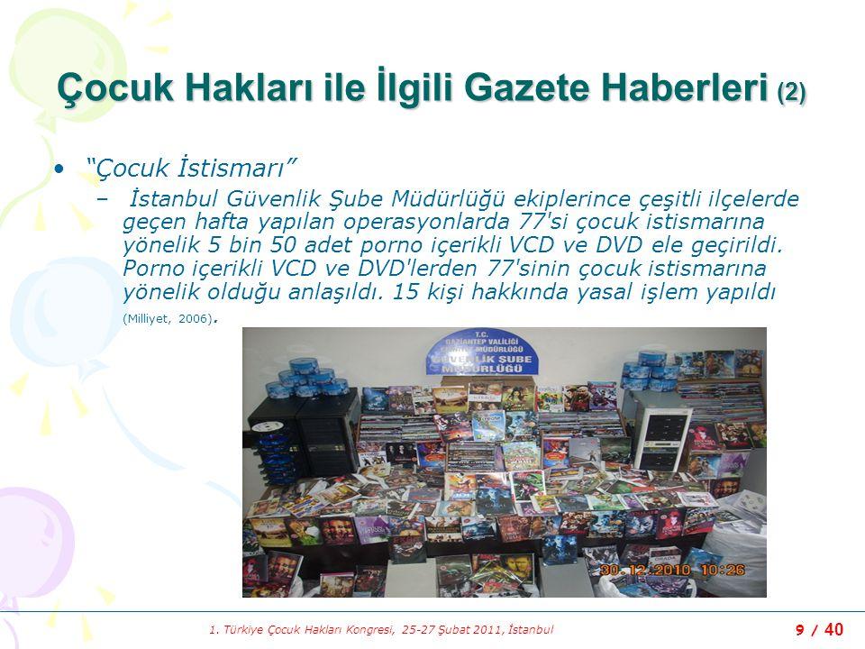 Çocuk Hakları ile İlgili Gazete Haberleri (2)