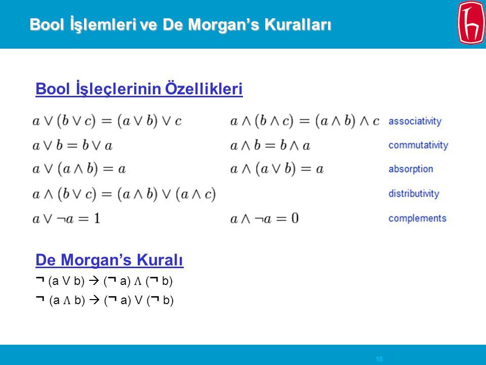 Bool İşlemleri ve De Morgan's Kuralları