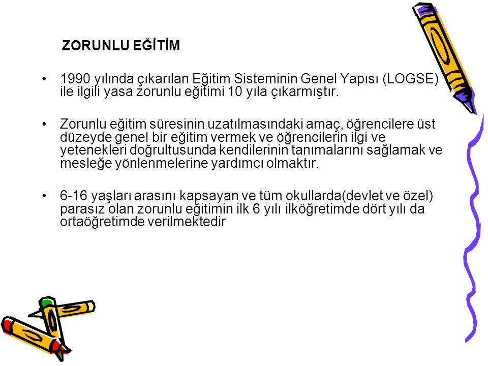 ZORUNLU EĞİTİM 1990 yılında çıkarılan Eğitim Sisteminin Genel Yapısı (LOGSE) ile ilgili yasa zorunlu eğitimi 10 yıla çıkarmıştır.