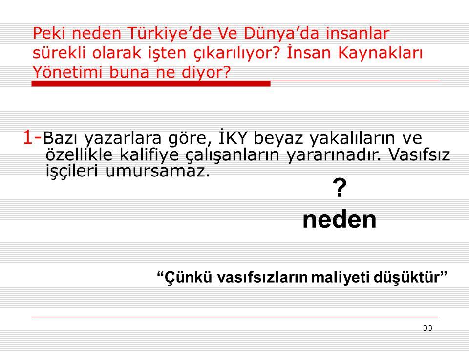 Peki neden Türkiye'de Ve Dünya'da insanlar sürekli olarak işten çıkarılıyor İnsan Kaynakları Yönetimi buna ne diyor