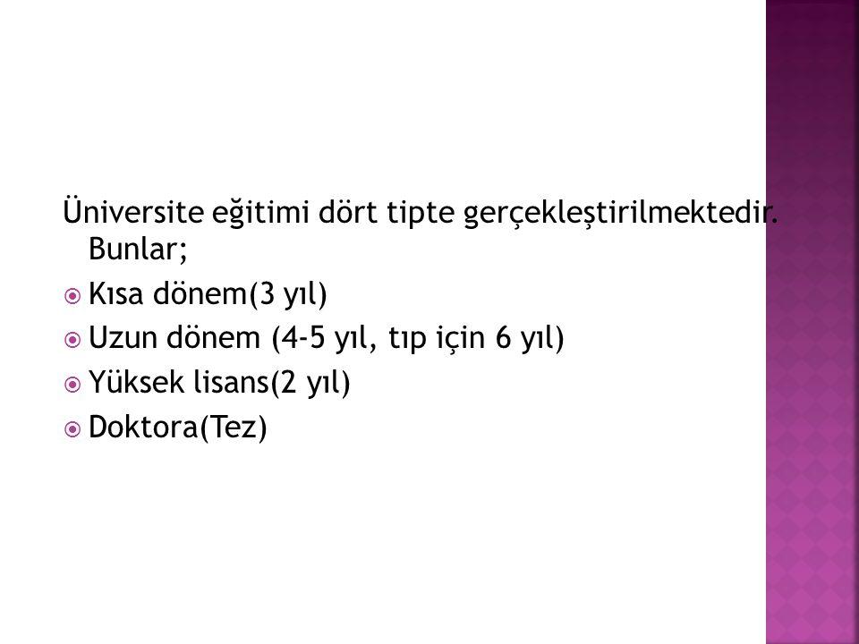 Üniversite eğitimi dört tipte gerçekleştirilmektedir. Bunlar;