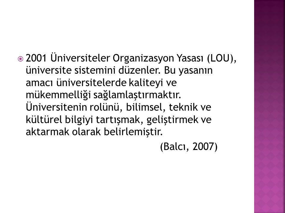 2001 Üniversiteler Organizasyon Yasası (LOU), üniversite sistemini düzenler. Bu yasanın amacı üniversitelerde kaliteyi ve mükemmelliği sağlamlaştırmaktır. Üniversitenin rolünü, bilimsel, teknik ve kültürel bilgiyi tartışmak, geliştirmek ve aktarmak olarak belirlemiştir.