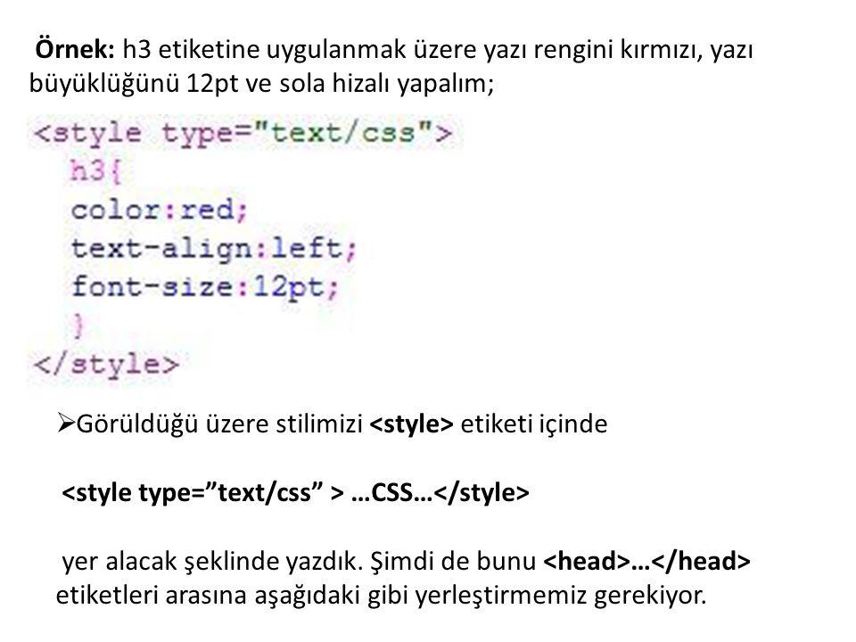 Örnek: h3 etiketine uygulanmak üzere yazı rengini kırmızı, yazı büyüklüğünü 12pt ve sola hizalı yapalım;
