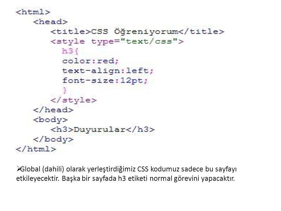 Global (dahili) olarak yerleştirdiğimiz CSS kodumuz sadece bu sayfayı etkileyecektir.