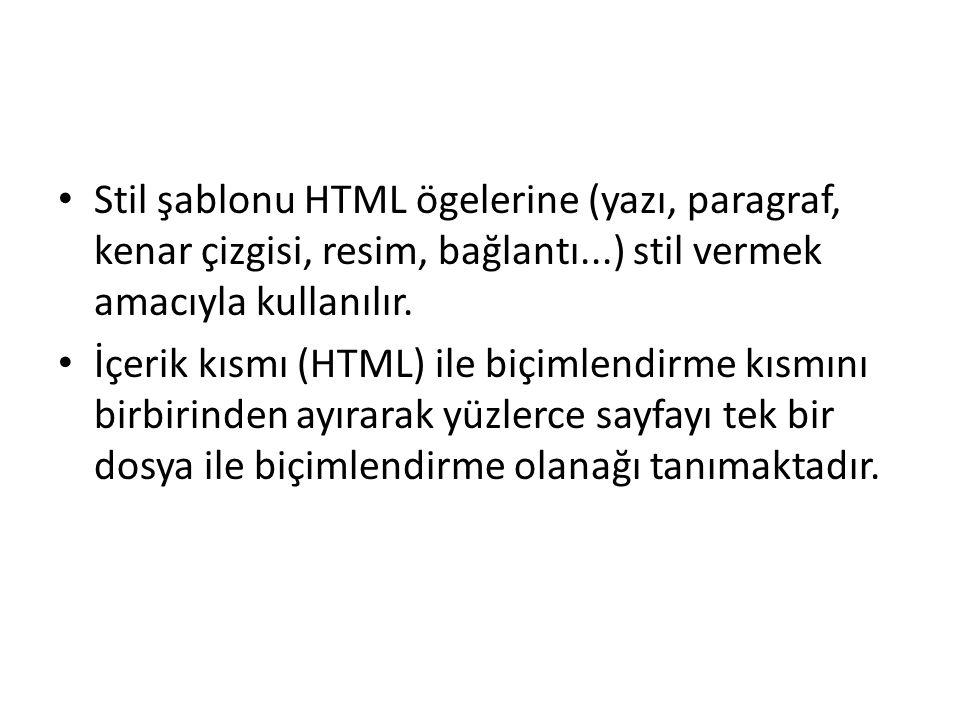Stil şablonu HTML ögelerine (yazı, paragraf, kenar çizgisi, resim, bağlantı...) stil vermek amacıyla kullanılır.