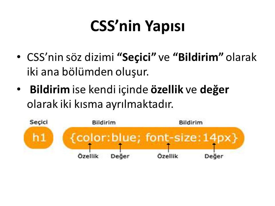 CSS'nin Yapısı CSS'nin söz dizimi Seçici ve Bildirim olarak iki ana bölümden oluşur.