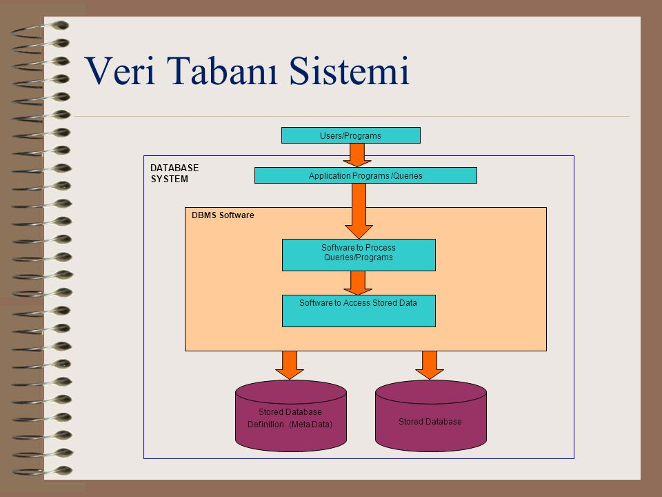 Veri Tabanı Sistemi DATABASE SYSTEM Users/Programs