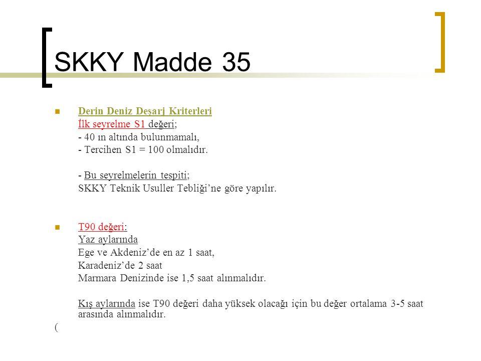 SKKY Madde 35 Derin Deniz Deşarj Kriterleri İlk seyrelme S1 değeri;