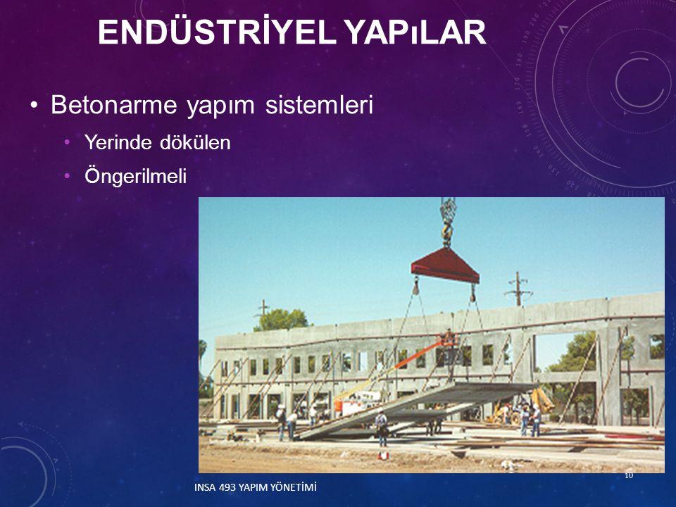Endüstrİyel yapılar Betonarme yapım sistemleri Yerinde dökülen