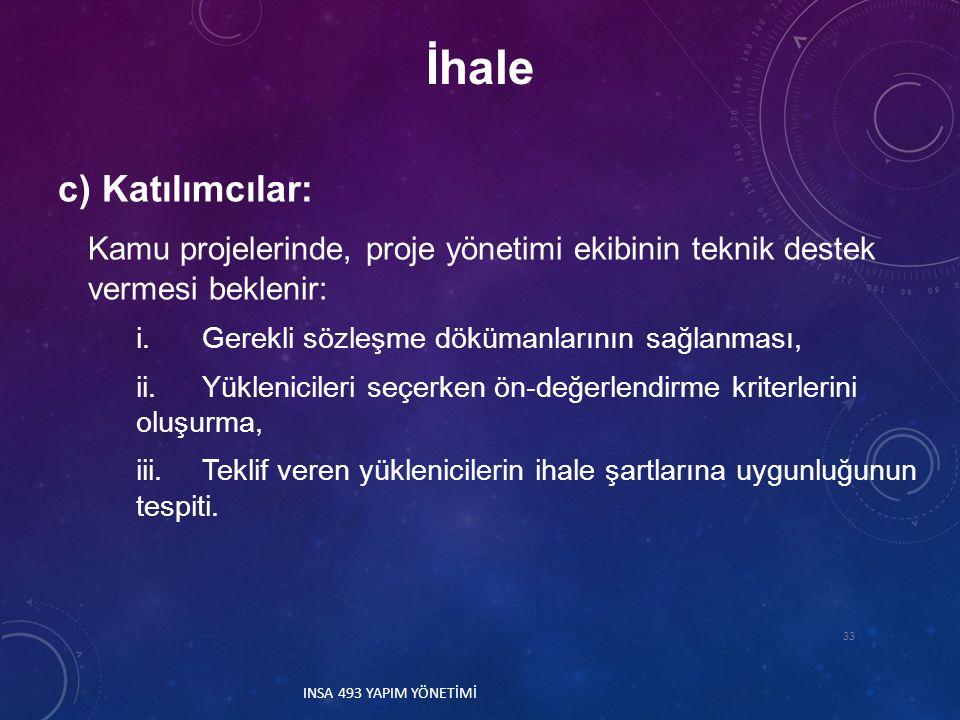 İhale c) Katılımcılar: