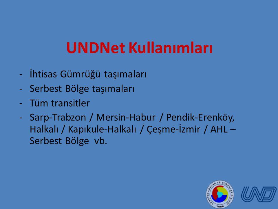 UNDNet Kullanımları İhtisas Gümrüğü taşımaları