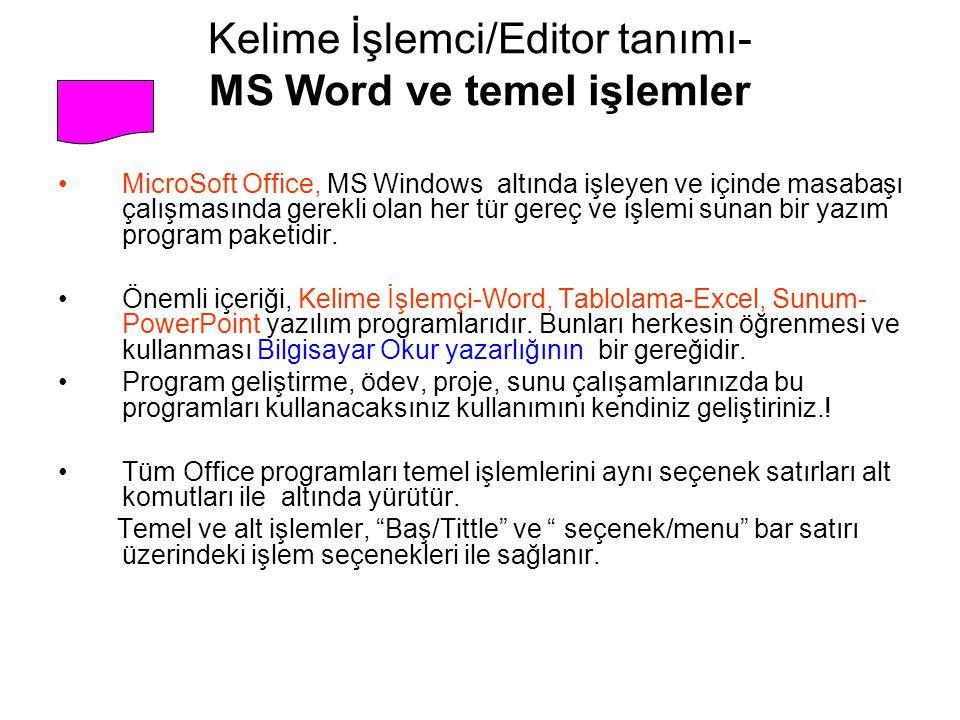 Kelime İşlemci/Editor tanımı- MS Word ve temel işlemler
