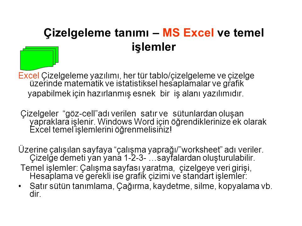 Çizelgeleme tanımı – MS Excel ve temel işlemler