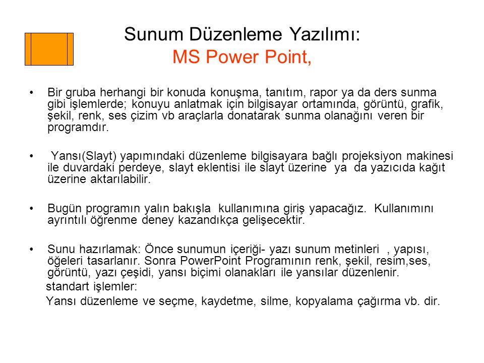 Sunum Düzenleme Yazılımı: MS Power Point,