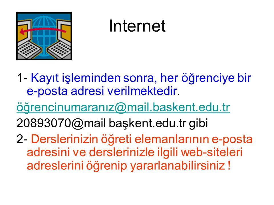 Internet 1- Kayıt işleminden sonra, her öğrenciye bir e-posta adresi verilmektedir. öğrencinumaranız@mail.baskent.edu.tr.