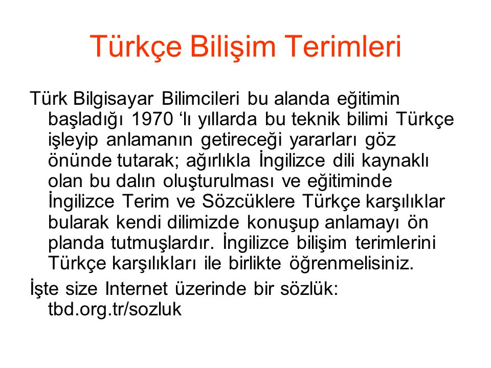 Türkçe Bilişim Terimleri