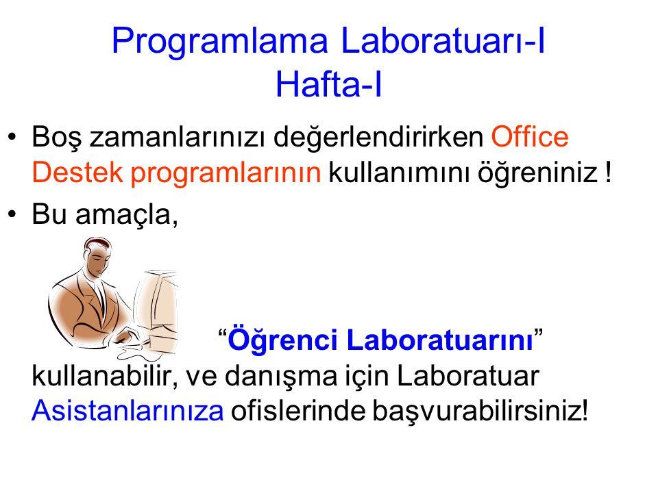 Programlama Laboratuarı-I Hafta-I