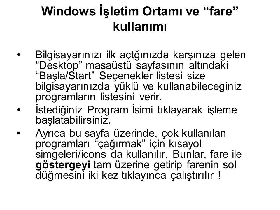 Windows İşletim Ortamı ve fare kullanımı