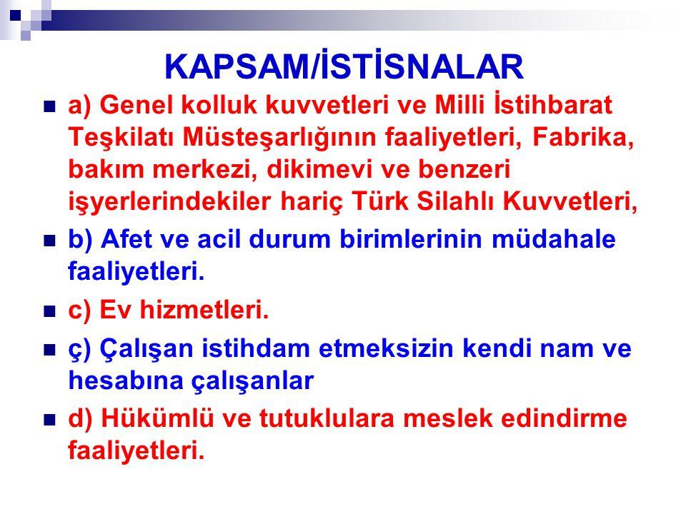 KAPSAM/İSTİSNALAR