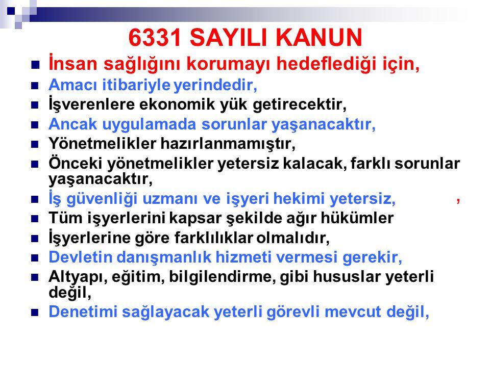 6331 SAYILI KANUN , İnsan sağlığını korumayı hedeflediği için,