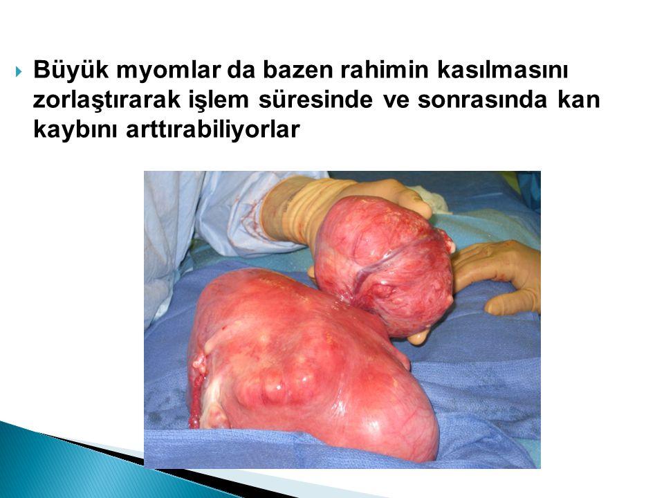 Büyük myomlar da bazen rahimin kasılmasını zorlaştırarak işlem süresinde ve sonrasında kan kaybını arttırabiliyorlar