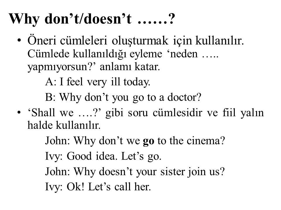 Why don't/doesn't …… Öneri cümleleri oluşturmak için kullanılır. Cümlede kullanıldığı eyleme 'neden ….. yapmıyorsun ' anlamı katar.