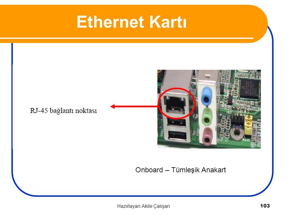 Ethernet Kartı Onboard – Tümleşik Anakart Hazırlayan:Akile Çalışan