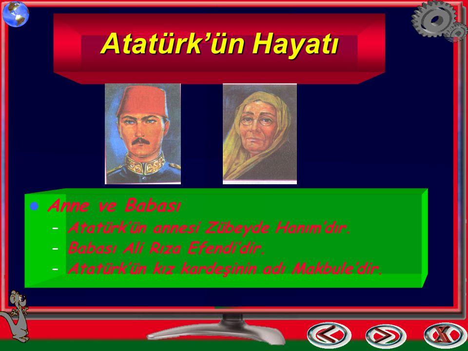 Atatürk'ün Hayatı Anne ve Babası Atatürk'ün annesi Zübeyde Hanım'dır.