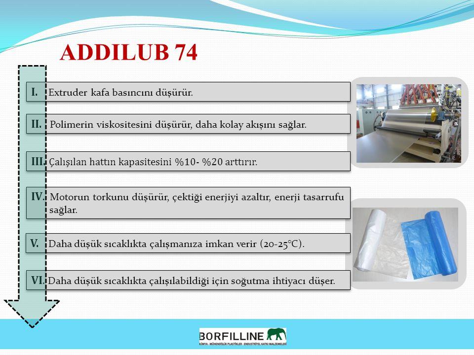 ADDILUB 74 I. Extruder kafa basıncını düşürür.