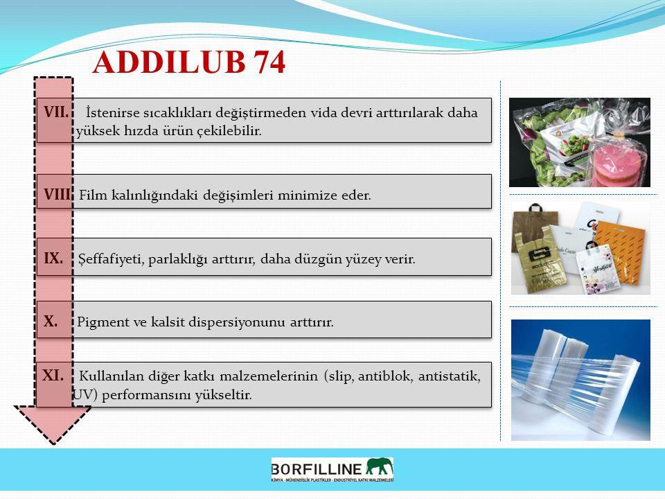ADDILUB 74 VII. İstenirse sıcaklıkları değiştirmeden vida devri arttırılarak daha. yüksek hızda ürün çekilebilir.