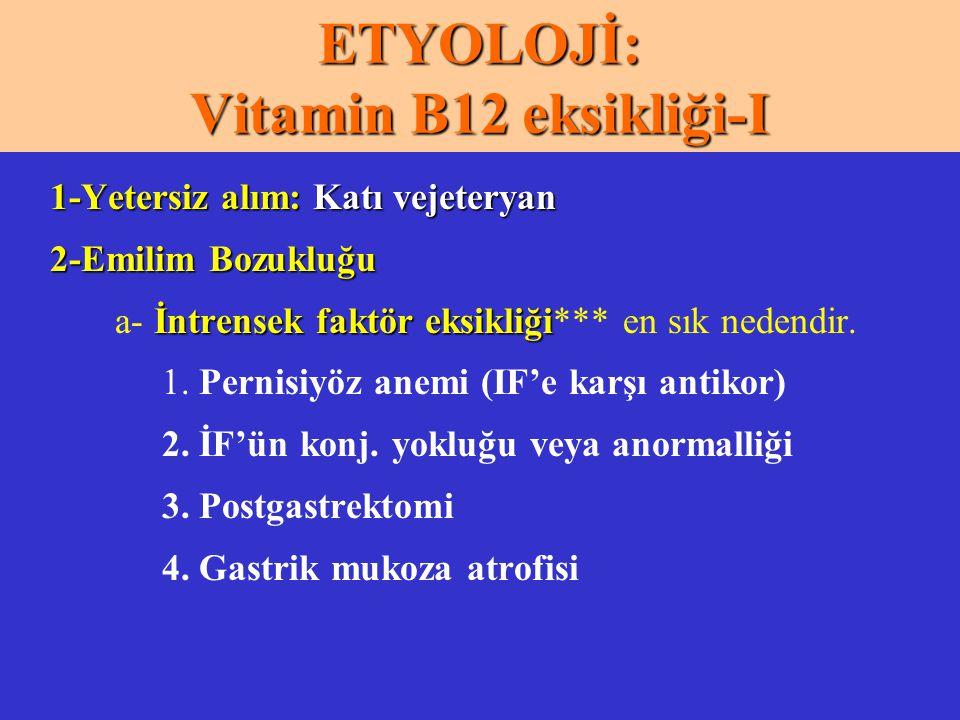 ETYOLOJİ: Vitamin B12 eksikliği-I