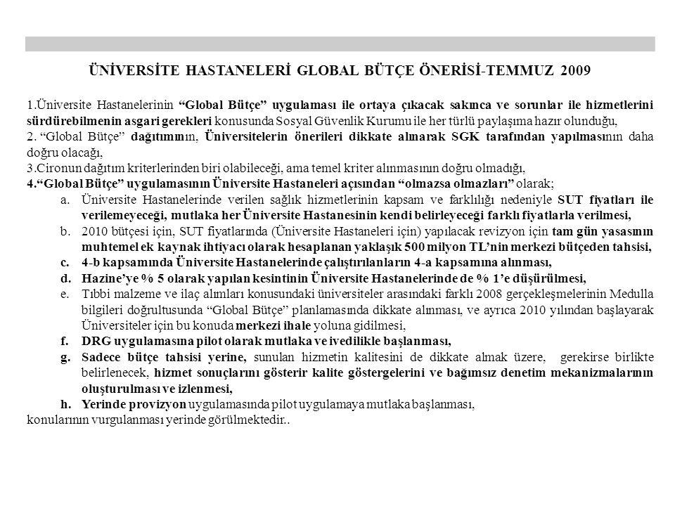 ÜNİVERSİTE HASTANELERİ GLOBAL BÜTÇE ÖNERİSİ-TEMMUZ 2009