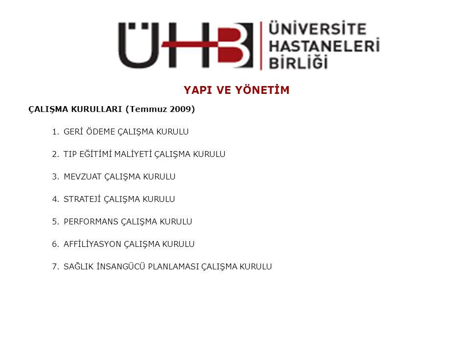 YAPI VE YÖNETİM ÇALIŞMA KURULLARI (Temmuz 2009)