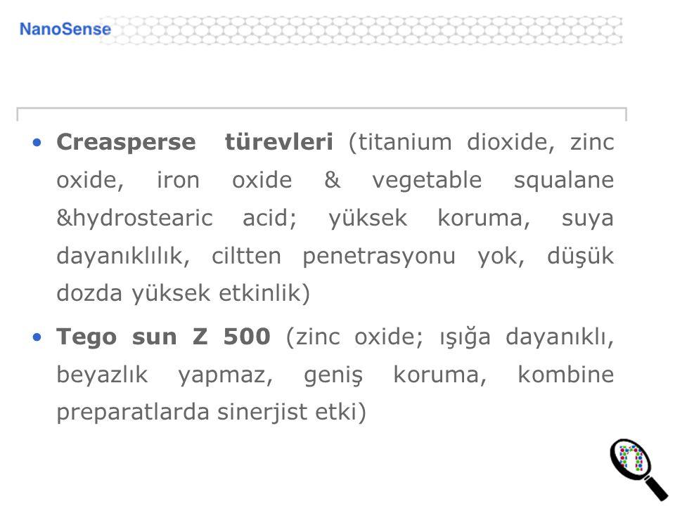 Creasperse türevleri (titanium dioxide, zinc oxide, iron oxide & vegetable squalane &hydrostearic acid; yüksek koruma, suya dayanıklılık, ciltten penetrasyonu yok, düşük dozda yüksek etkinlik)