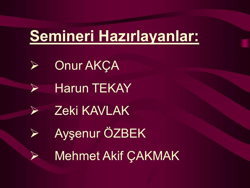 Onur AKÇA Harun TEKAY Zeki KAVLAK Ayşenur ÖZBEK Mehmet Akif ÇAKMAK