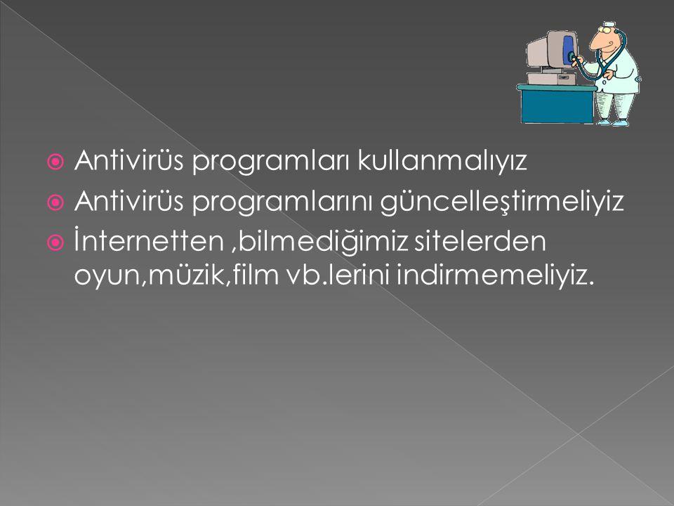 Antivirüs programları kullanmalıyız