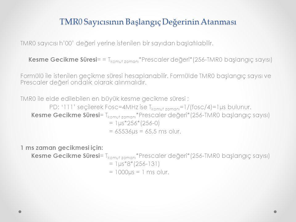 TMR0 Sayıcısının Başlangıç Değerinin Atanması