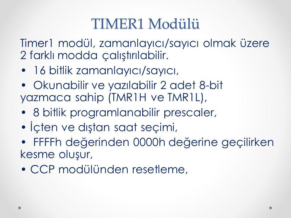 TIMER1 Modülü Timer1 modül, zamanlayıcı/sayıcı olmak üzere 2 farklı modda çalıştırılabilir. • 16 bitlik zamanlayıcı/sayıcı,