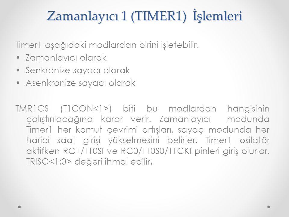 Zamanlayıcı 1 (TIMER1) İşlemleri