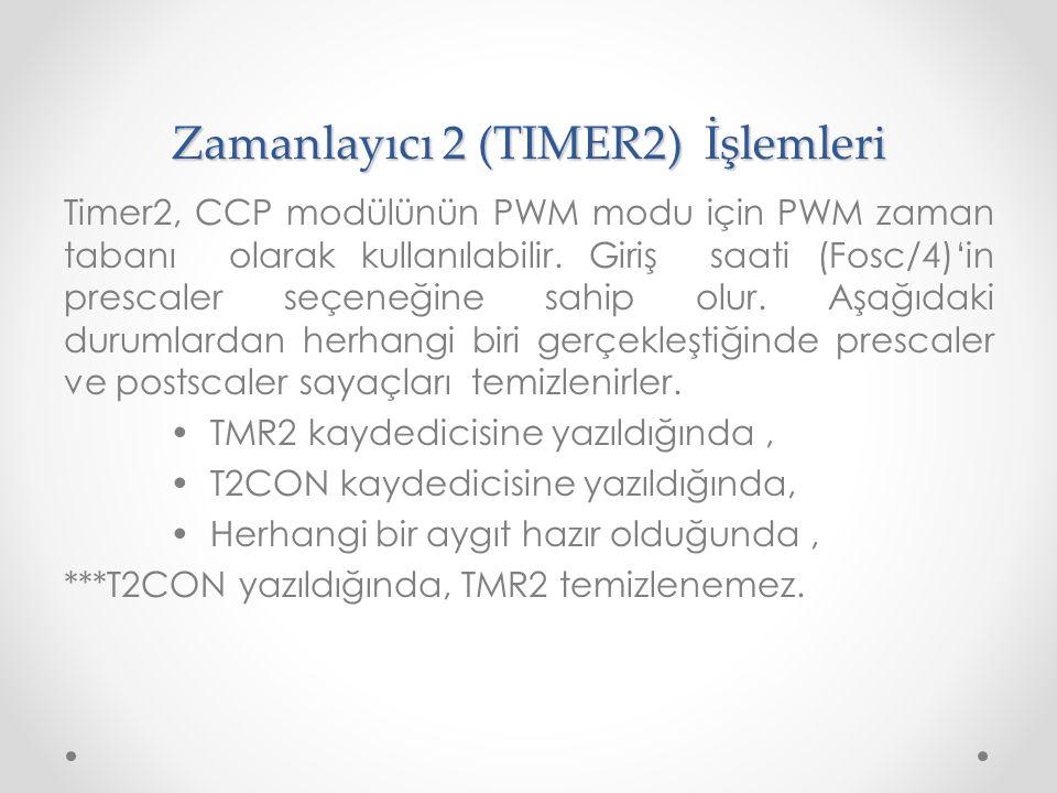 Zamanlayıcı 2 (TIMER2) İşlemleri