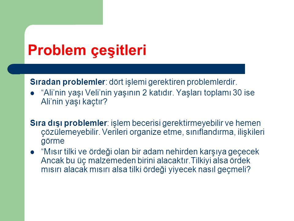 Problem çeşitleri Sıradan problemler: dört işlemi gerektiren problemlerdir.