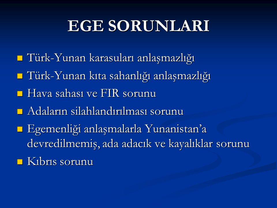 EGE SORUNLARI Türk-Yunan karasuları anlaşmazlığı