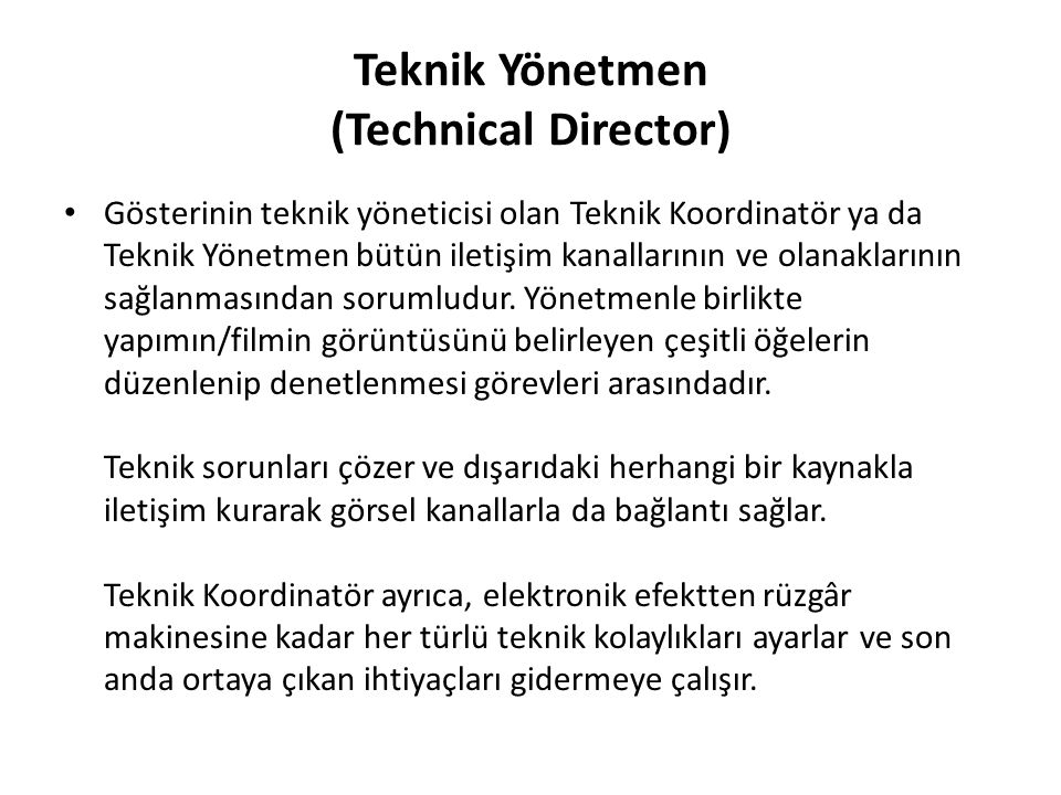 Teknik Yönetmen (Technical Director)