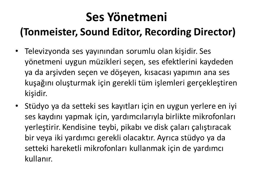 Ses Yönetmeni (Tonmeister, Sound Editor, Recording Director)