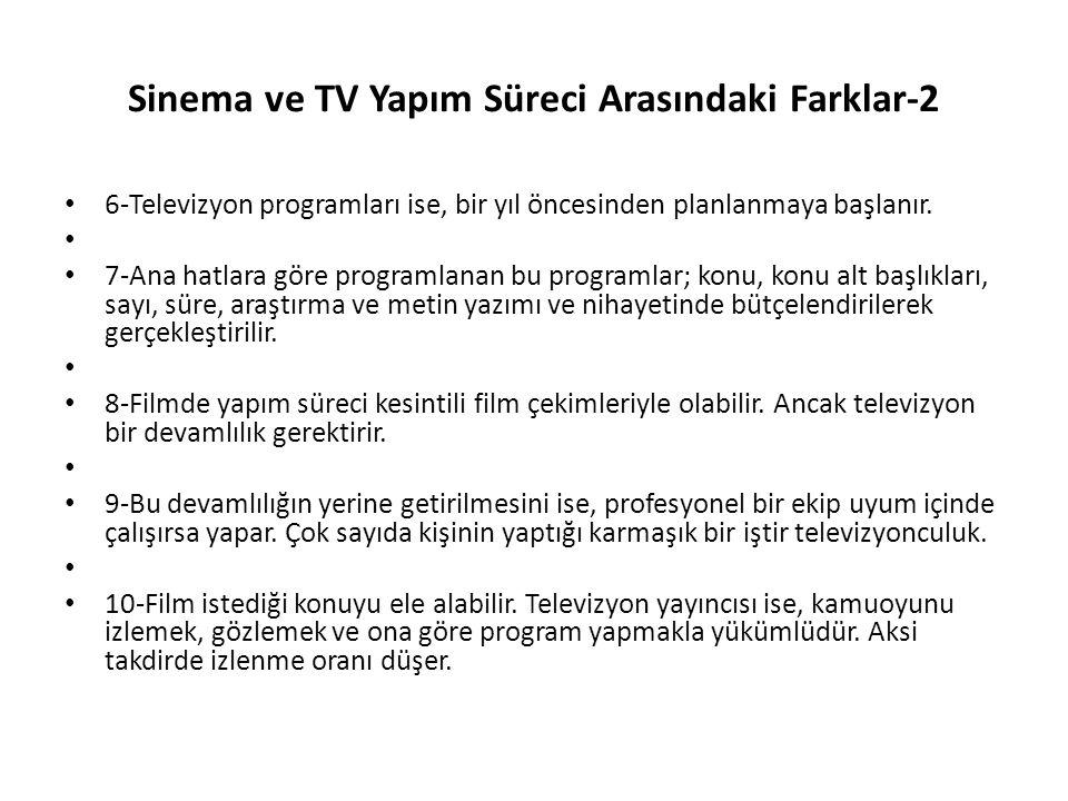 Sinema ve TV Yapım Süreci Arasındaki Farklar-2