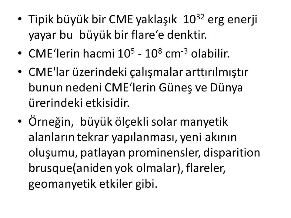 Tipik büyük bir CME yaklaşık 1032 erg enerji yayar bu büyük bir flare'e denktir.