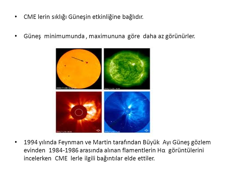 CME lerin sıklığı Güneşin etkinliğine bağlıdır.