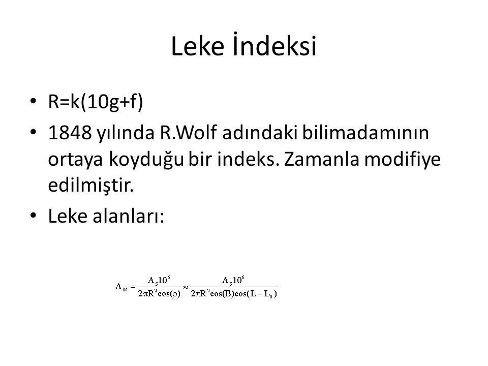 Leke İndeksi R=k(10g+f) 1848 yılında R.Wolf adındaki bilimadamının ortaya koyduğu bir indeks. Zamanla modifiye edilmiştir.