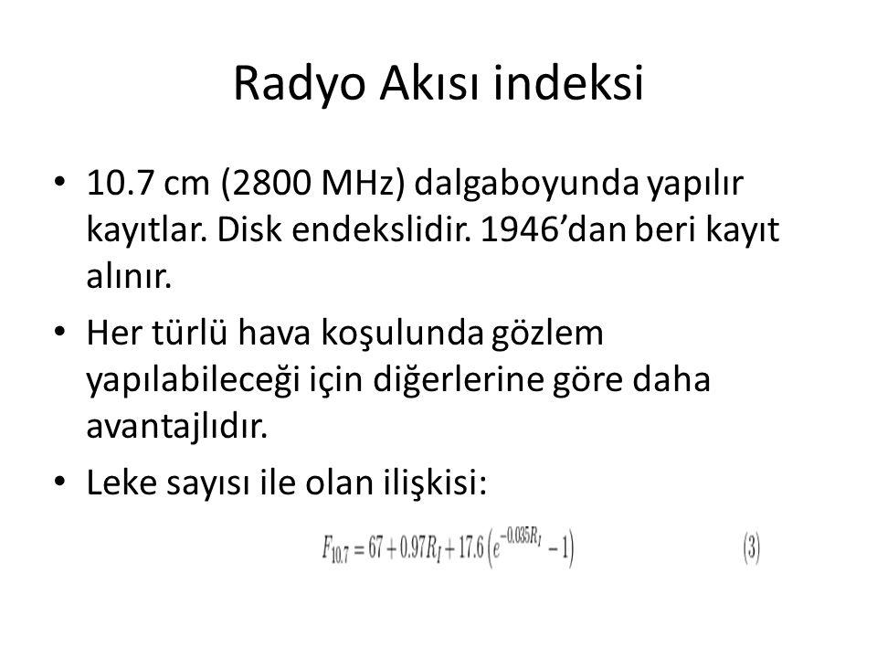 Radyo Akısı indeksi 10.7 cm (2800 MHz) dalgaboyunda yapılır kayıtlar. Disk endekslidir. 1946'dan beri kayıt alınır.