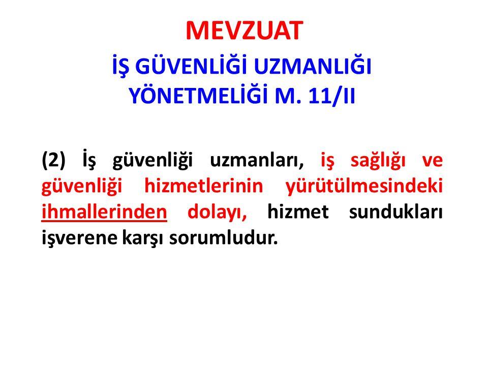 İŞ GÜVENLİĞİ UZMANLIĞI YÖNETMELİĞİ M. 11/II